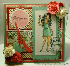 Charmed Stamping: Mo's Digital Pencil Party Girl handmade card