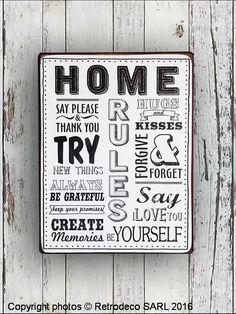 Plaque décorative en métal patiné Home à accrocher dans toutes les maisons. Une excellente idée cadeau.
