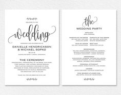 free printable wedding programs templates | Wedding Party ...