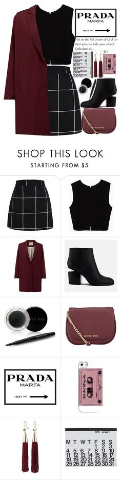 """Oxs Blood like/comment"" by makfashions ❤ liked on Polyvore featuring Zara, American Vintage, Alexander Wang, Mary Kay, MICHAEL Michael Kors, Prada, Eddie Borgo, Crate and Barrel and WALL #CuteSkirts"