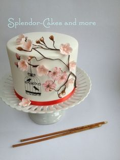 Edible Cherry Blossoms | hand painted cherry blossoms and birdcage by splendorcakes this cake ...