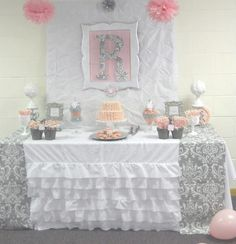 """Photo 1 of 29: Pink + Grey Damask Baby Shower / Baby Shower/Sip  See """"Pink + Gray Damask Baby Shower""""   Catch My Party"""