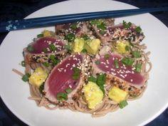 Peppered Ahi Tuna on Soba Noodles with Creamy Avocado