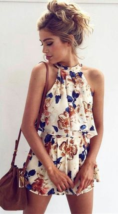 #summer #outfits White Floral Romper + Brown Shoulder Bag // Shop this outfit in the link