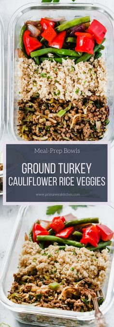 Ground Turkey Cauliflower Rice Veggie Bowls (Meal-Prep) - Primavera Kitchen