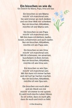 Ein bisschen so wie du * Elkes Kindergeschichten Elke Braunling. A little like you. A little like you. A poem for mom, dad, grandma and grandpa. Sometimes I want to be a bit like mom. Mom Poems, Diy Gifts For Mom, Grandma And Grandpa, Mamas And Papas, Boyfriend Gifts, Fathers Day Gifts, Like You, About Me Blog, Parenting
