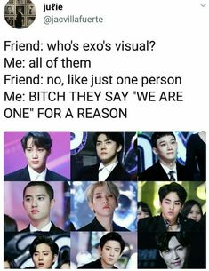 Okay but like why'd they use the pictures where Chen and kyungsoo have bad haircuts <<< Idk they're still cute tho Best Funny Jokes, Funny Kpop Memes, Exo Memes, Exo Ot12, Chanbaek, Kyungsoo, Chanyeol, Exo Kai, K Pop