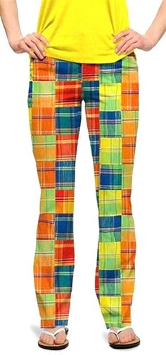 Loudmouth Golf Pants Ladies sz 00 Grass Multi Patchwork Plaid NEW John Daly  WILD d1add346214fb