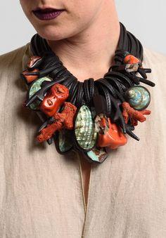 Monies UNIQUE Italian Coral, Jade, Crystal, & Shell Multi Strand Necklace