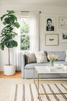 Chrissy McDonald's 550 Sq. Apartment Is a Total Dream - beautiful living room design ideas for your apartment decor - botanicals, light blue couch, textured rug, and gallery wall Farm House Living Room, Room Design, Home Decor, Living Room Interior, House Interior, Apartment Decor, Dorm Room Decor, Interior Design, Living Decor
