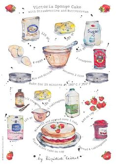 Victoria Sponge Cake Recipe Art Print from Original Ink and Watercolour Illustration via Etsy