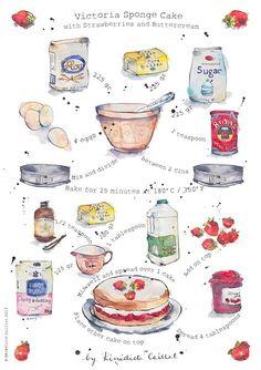 Victoria Sponge Cake Recipe Art Print from Original Ink and Watercolour Illustration