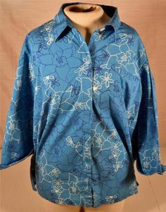 Evan Picone Stretch Size 20W 3/4 Sleeve Blue Casual Wear Front Button Blouse