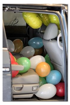 last day of school - fill car with balloons to surprise the littles at pick up :D   TOO CUTE! Sugar Bee Crafts: Last Day of School Ideas