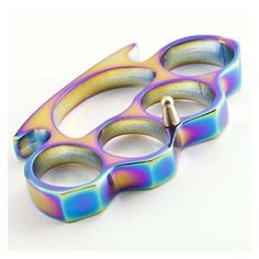 Rainbow Titanium Coated Brass Knuckles Style Knuckle Duster Heavy Paperweight