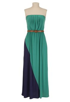 Belted Colorblock Maxi Tube Dress - maurices.com