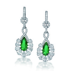 18K White Gold Earrings with Pear Shape Emeralds, Round Brilliant & Pear Shape Diamonds by Facets Singapore.