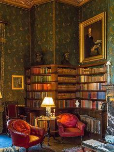 The Library at Dunster Castle in Somerset