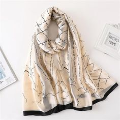 2018 luxury brand summer women scarf fashion quality soft silk scarves female shawls Foulard Beach cover-ups wraps silk bandana Silk Bandana, Bandana Print, Hand Painted Fabric, Summer Wraps, Designer Scarves, Shawls And Wraps, Silk Scarves, Western Wear, Scarf Styles