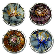 Set/4 floral antique enameled buttons.