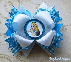 Alice in Wonderland hair bow disney hair clip princess headband bottle cap over the top boutique hair accessories girls cute