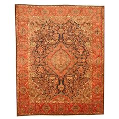 With a distinctive style, a gorgeous area rug from Iran will add some splendor to any decor. This Kashmar area rug is hand-knotted with a floral pattern in shades of navy, red, ivory, olive, peach, brown and grey.