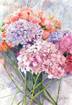 Rachel's Studio Blog: Hydrangea Watercolor Painting by Rachel Parker