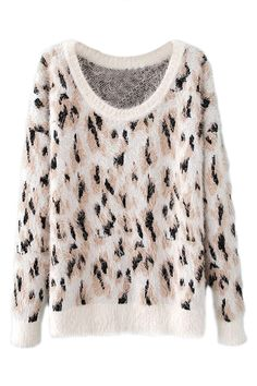 ROMWE Leopard Knitted Color Block Jumper