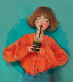 Kai Fine Art is an art website, shows painting and illustration works all over the world. Cute Illustration, Character Illustration, Arte Fashion, Girl Fashion, Digital Art Girl, Manga Drawing, Pretty Art, Anime Art Girl, Love Art