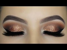 Gold Glitter Eyeshadow + Pink Lip Valentine's Day look Using Morphe and Jaclyn Hill palette! - YouTube