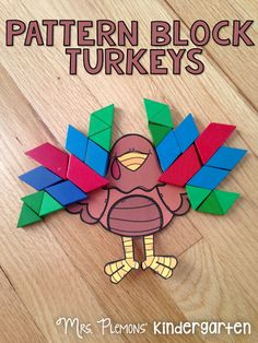 FREE Build a Turkey Pattern Block Math Center. Great for teaching number sense and geometry concepts including symmetry and spatial awareness. Holiday Activities, Preschool Activities, Preschool Rules, Preschool Classroom, Art Classroom, Educational Activities, Classroom Ideas, Thanksgiving Preschool, Thanksgiving Games
