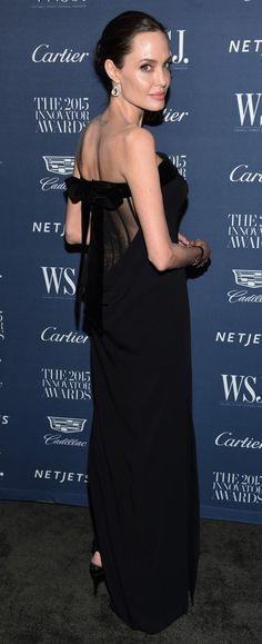 Angelina Jolie in Tom Ford paired with  Lorraine Schwartz jewels attends the WSJ. Magazine 2015 Innovator Awards. #bestdressed