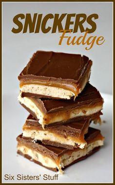 Snickers Fudge- gooey caramel, peanuts, and chocolate. It's amazing. http://SixSistersStuff.com #fudge #dessert