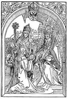 vor 973  Gerberga II. (Gandersheim) mit Roswitha vor Otto dem Großen (Phantasiedarstellung von 1501) - Gerbergas Abbatiat war dadurch geprägt, dass König Heinrich I. 936 das Stift Quedlinburg als zweiten Ort der liudolfingischen Memorialpflege gegründet hatte, mit dem Gandersheim um die Gunst der Familienoberhäupter rang. Weitere Konkurrenz um die herrschaftliche Gunst bestand durch das Stift Essen, das zwar keine liudolfingische Gründung war, aber mit Hadwig, Ida und besonders Mathilde…