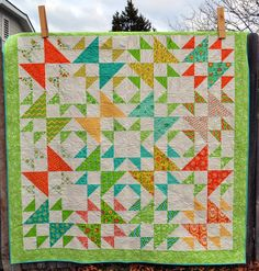 Porch Swing Quilts Star Quilts, Scrappy Quilts, Quilt Blocks, Easy Quilts, Bright Quilts, Colorful Quilts, Pdf Patterns, Quilt Patterns, Quilting Projects