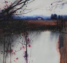 David Parfitt(British)Blue and browns  watercolour 280mmx300mm  via