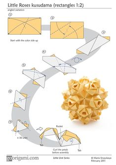 May 2018 - Diagram for a modular origami ball, Little Roses Kusudama, designed by Maria Sinayskaya. Folded with 30 rectangular sheets of paper, assembled without glue. Origami 3d, Design Origami, Origami Ball, Origami Paper Art, Origami Dragon, Origami Fish, Modular Origami, Origami Ideas, Oragami