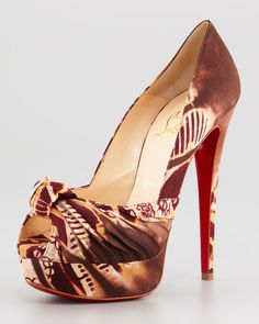 Christian Louboutin Printed Knotted Red Sole Pump in Brown   Lyst