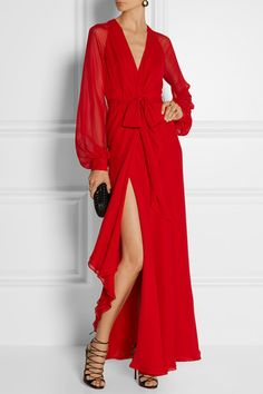Red silk-chiffon Concealed hook fastenings at waist 100% silk Dry clean
