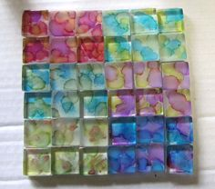 This is my first ever attempt to do a tutorial. It's for some simple glass tile magnets using Adirondack alcohol inks .  I purchased a squar...