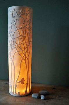 Ceramics by Amy Cooper at Studiopottery.co.uk - Hazel Lamp, 44cm x 13cm. This pics up on the forest/nature fashion trend
