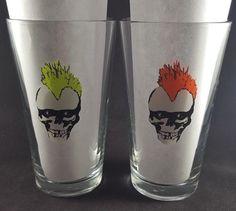 Zombie Punk Skull 16oz Glasses