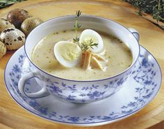 Polish Żurek (Rye Soup), traditionally served with hard boiled egg and white sausage - YUMMY!
