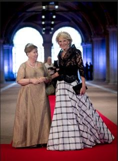 (L-R) Princess Christina of Netherlands and Princess Irene of the Netherlands attend the 2013 Royal-dinner hosted by Queen Beatrix of The Netherlands ahead of her abdication.