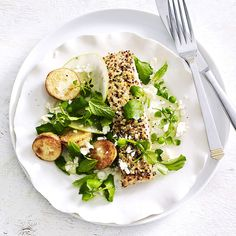 A healthier WW recipe for Dukkah salmon with super green salad ready in just Get the SmartPoints value plus browse other delicious recipes today! Ww Recipes, Salmon Recipes, Delicious Recipes, Yummy Food, Healthy Recipes, Weight Watchers Salmon, Super Greens, Salmon Fillets, How To Cook Quinoa