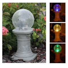 Add decorative lighting to your garden, patio or deck, without increasing your electricity bill with the Solar Chameleon Crackled Glass Gazing Ball. Solar Led, Solar Lights, Garden Statues, Garden Sculptures, Crackle Glass, Leaded Glass, Garden Inspiration, Garden Ideas, Garden Art