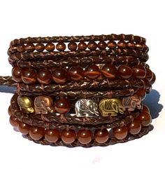 Elephant Rope Leather Wrap Bracelet