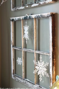 Old window and snowflakes..i actually have a couple of old windows in the shed!! need to go dig them out!