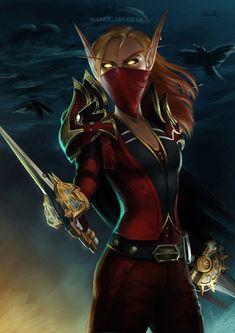 Commission work of World of Warcraft Blood Elf Outlaw Rogue. Phoenix Bloodheart [C] World Of Warcraft Game, Warcraft Art, I Love The World, Blood Elf, Night Elf, Wow Art, Fantasy Inspiration, Character Portraits, Dark Fantasy Art