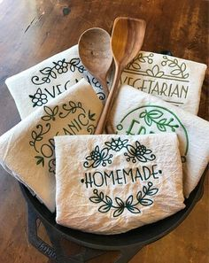 Homemade embroidered flour sack tea towel, natural cotton dish towel, kitchen label, green reusable kitchen gift, housewarming present Dish Towels, Tea Towels, Kitchen Labels, Embroidered Towels, Flour Sack Towels, Hand Embroidery Stitches, Homemade, Gifts, Messy Kitchen
